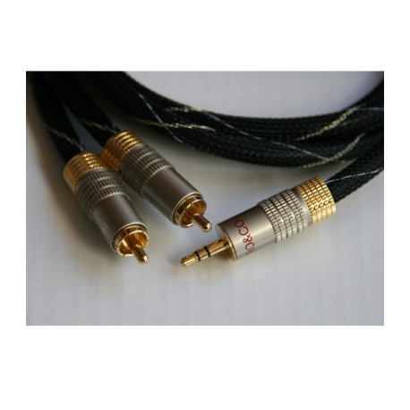 BLACKJACK1.0 - Cable 2 rca - 1 jack 3.5 mm 1,0 mts